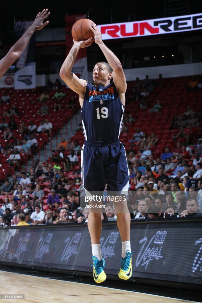 Brandon Triche #19 of the Charlotte Bobcats goes for a jump shot during NBA Summer League game between the D League Select and the Charlotte Bobcats on July 20, 2013 at the Thomas and Mack Center Center in Las Vegas, Nevada.