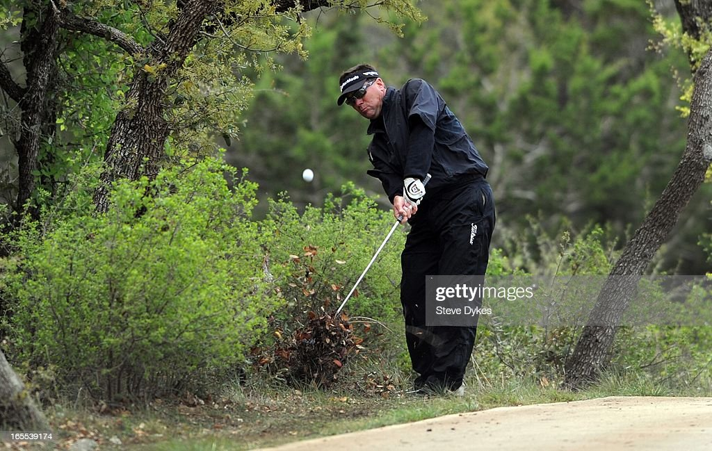 Brandt Jobe hits his second shot out of the rough on the 5th hole during the first round of the Valero Texas Open at the AT&T Oaks Course at TPC San Antonio on April 04, 2013 in San Antonio, Texas.