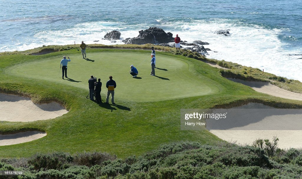 Brandt Snedeker celebrates his birdie putt on the seventh green during the final round of the AT&T Pebble Beach National Pro-Am at Pebble Beach Golf Links on February 10, 2013 in Pebble Beach, California.