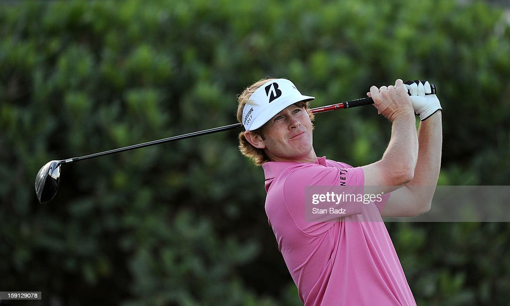 Brandt Snedeker hits a drive on the first hole during the final round of the Hyundai Tournament of Champions at Plantation Course at Kapalua on January 8, 2013 in Kapalua, Maui, Hawaii.