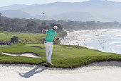 Brandt Snedeker hits a shot from the rough on the ninth hole during the final round of the ATT Pebble Beach National ProAm at the Pebble Beach Golf...
