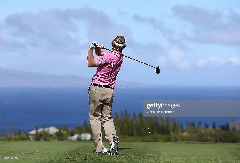 Brandt Snedeker hits a tee shot on the 17th hole during the final round of the Hyundai Tournament of Champions at the Plantation Course on January 8, 2013 in Kapalua, Hawaii.
