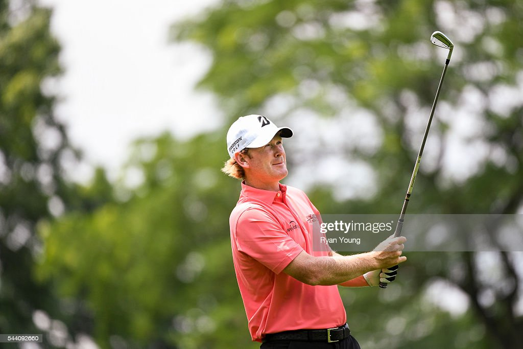 Brandt Snedeker hits an approach shot on the eighth hole during the second round of the World Golf Championships-Bridgestone Invitational at Firestone Country Club on July 1, 2016 in Akron, Ohio.