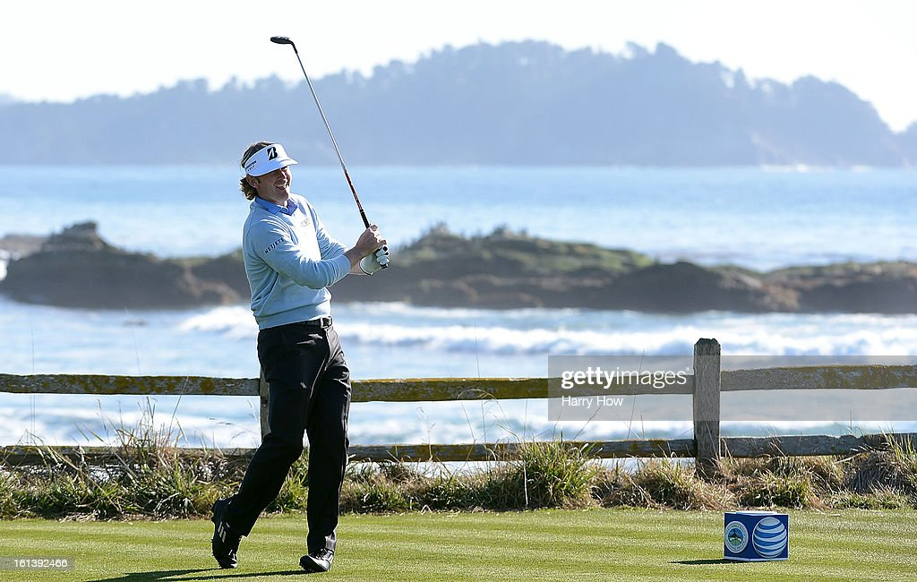 Brandt Snedeker hits his tee shot on the 18th hole during the final round of the AT&T Pebble Beach National Pro-Am at Pebble Beach Golf Links on February 10, 2013 in Pebble Beach, California.