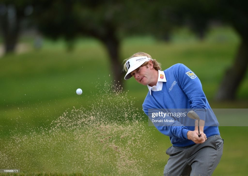 <a gi-track='captionPersonalityLinkClicked' href=/galleries/search?phrase=Brandt+Snedeker&family=editorial&specificpeople=2345049 ng-click='$event.stopPropagation()'>Brandt Snedeker</a> hits out of a bunker during the First Round at the Farmers Insurance Open at Torrey Pines Golf Course on January 24, 2013 in La Jolla, California.