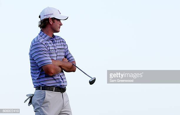 Brandt Snedeker looks on from the 17th green during the third round of the Sony Open In Hawaii at Waialae Country Club on January 16 2016 in Honolulu...