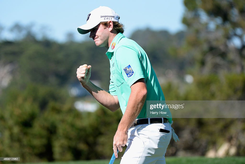 Brandt Snedeker makes birdie on the fifth hole during the final round of the AT&T Pebble Beach National Pro-Am at the Pebble Beach Golf Links on February 15, 2015 in Pebble Beach, California.