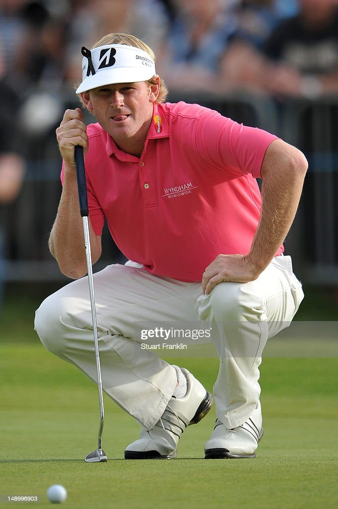 Brandt Snedeker of the United States lines up a putt on the eighteenth green during the third round of the 141st Open Championship at Royal Lytham & St. Annes Golf Club on July 21, 2012 in Lytham St Annes, England.