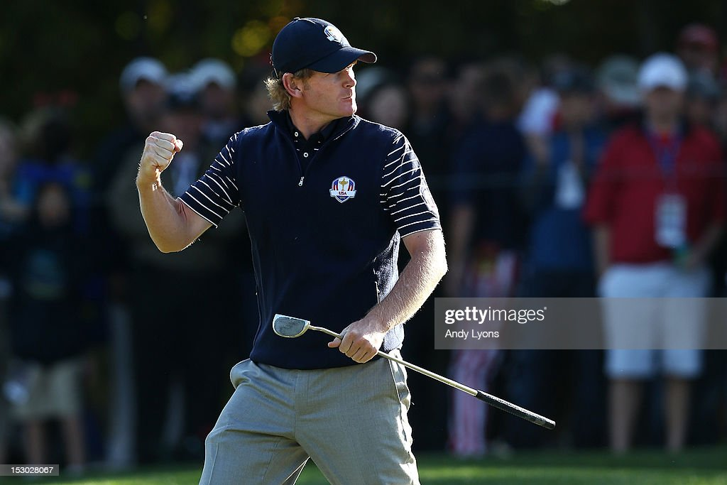 Brandt Snedeker of the United States reacts after making a birdie and winning the fifth hole during day two of the Morning Foursome Matches for The 39th Ryder Cup at Medinah Country Club on September 29, 2012 in Medinah, Illinois.