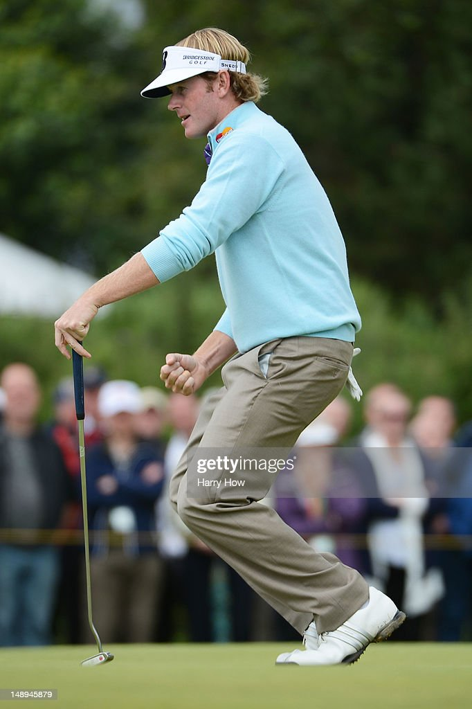 Brandt Snedeker of the United States reacts to a birdie putt on the 11th green during the second round of the 141st Open Championship at Royal Lytham & St Annes Golf Club on July 20, 2012 in Lytham St Annes, England.