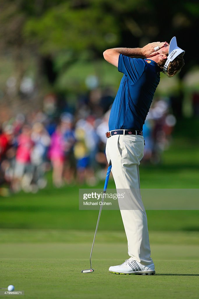 Brandt Snedeker of the United States reacts to a missed putt for birdie on the 16th green during the second round of the Arnold Palmer Invitational presented by MasterCard at the Bay Hill Club and Lodge on March 21, 2014 in Orlando, Florida.