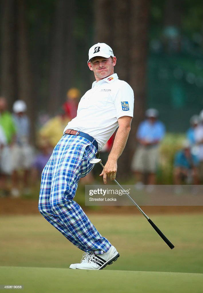 Brandt Snedeker of the United States reacts to a putt on the sixth green during the third round of the 114th U.S. Open at Pinehurst Resort & Country Club, Course No. 2 on June 14, 2014 in Pinehurst, North Carolina.