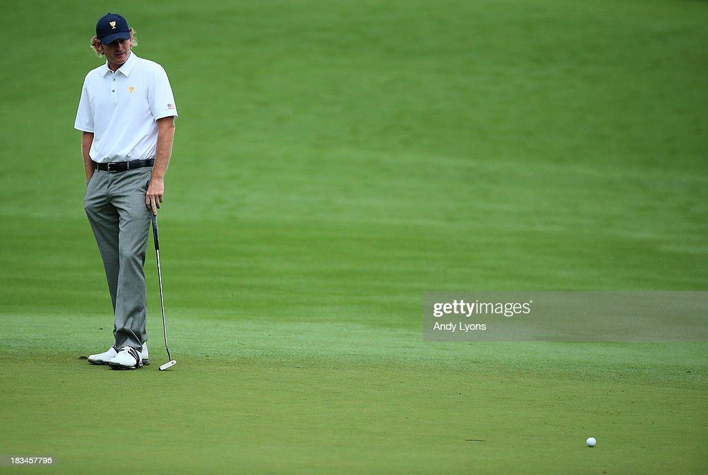 Brandt Snedeker of the U.S. Team hits misses a putt during the weather-delayed Day Three Foursome Matches at the Muirfield Village Golf Club on October 6, 2013 in Dublin, Ohio.