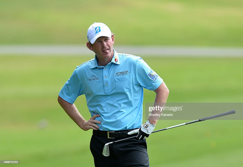<a gi-track='captionPersonalityLinkClicked' href=/galleries/search?phrase=Brandt+Snedeker&family=editorial&specificpeople=2345049 ng-click='$event.stopPropagation()'>Brandt Snedeker</a> of the USA shows his frustration after playing a wayward shot on the 9th hole during day one of the 2015 Australian PGA Championship at Royal Pines Resort on December 3, 2015 in Gold Coast, Australia.