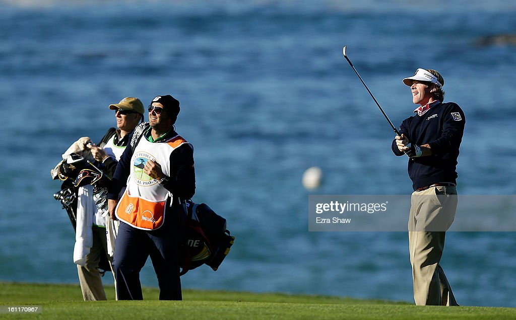 Brandt Snedeker plays a pitch shot on the fourth hole during the third round of the AT&T Pebble Beach National Pro-Am at Pebble Beach Golf Links on February 9, 2013 in Pebble Beach, California.