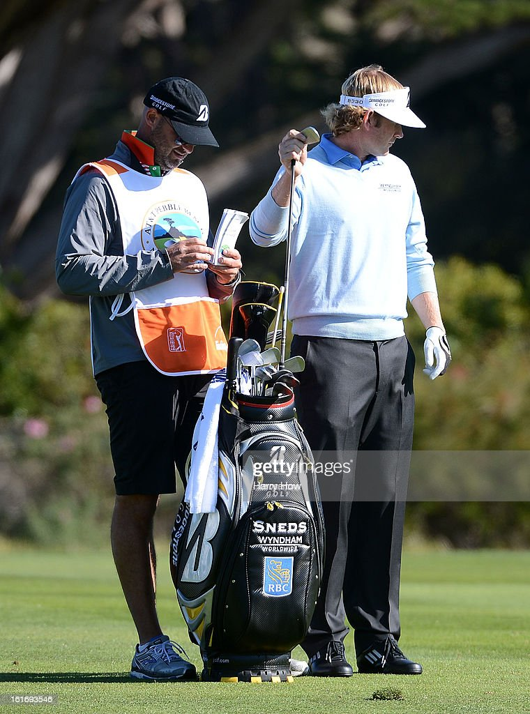 Brandt Snedeker pulls a club during the final round of the AT&T Pebble Beach National Pro-Am at Pebble Beach Golf Links on February 10, 2013 in Pebble Beach, California.