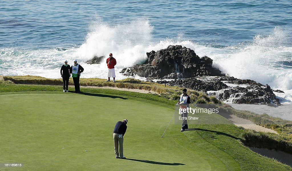 Brandt Snedeker putts for birdie on the seventh green during the third round of the AT&T Pebble Beach National Pro-Am at Pebble Beach Golf Links on February 9, 2013 in Pebble Beach, California.
