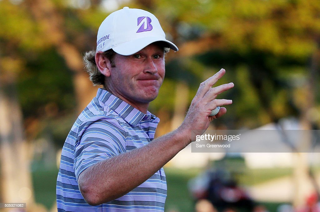 <a gi-track='captionPersonalityLinkClicked' href=/galleries/search?phrase=Brandt+Snedeker&family=editorial&specificpeople=2345049 ng-click='$event.stopPropagation()'>Brandt Snedeker</a> reacts on the 18th green during the third round of the Sony Open In Hawaii at Waialae Country Club on January 16, 2016 in Honolulu, Hawaii.