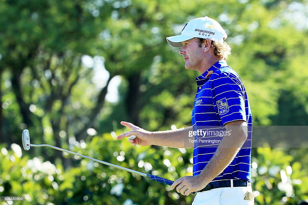 Brandt Snedeker reacts to his birdie putt on the 14th green during the final round of the Sony Open In Hawaii at Waialae Country Club on January 17, 2016 in Honolulu, Hawaii.