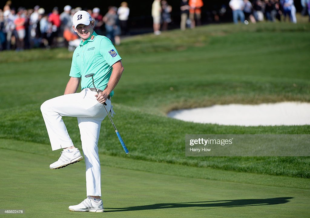 Brandt Snedeker reacts to missing a birdie putt on the 17th green during the final round of the AT&T Pebble Beach National Pro-Am at the Pebble Beach Golf Links on February 15, 2015 in Pebble Beach, California.