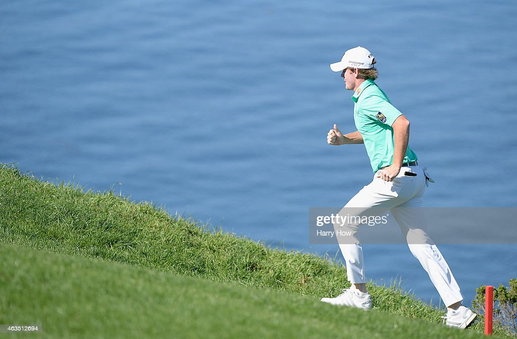 Brandt Snedeker runs up the sixth hole during the final round of the ATT Pebble Beach National ProAm at the Pebble Beach Golf Links on February 15...