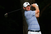 Brandt Snedeker tees off on the 2nd hole during the second round of the Wyndham Championship at Sedgefield Country Club on August 21 2015 in...
