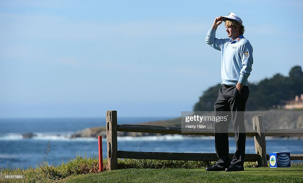 Brandt Snedeker waits on the fifth tee during the final round of the AT&T Pebble Beach National Pro-Am at Pebble Beach Golf Links on February 10, 2013 in Pebble Beach, California.