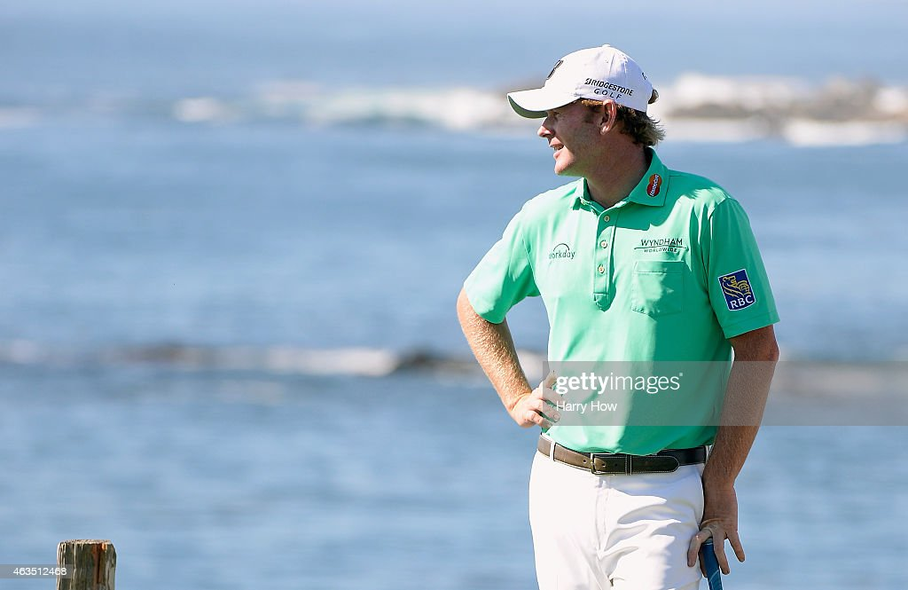Brandt Snedeker waits on the seventh tee during the final round of the ATT Pebble Beach National ProAm at the Pebble Beach Golf Links on February 15...