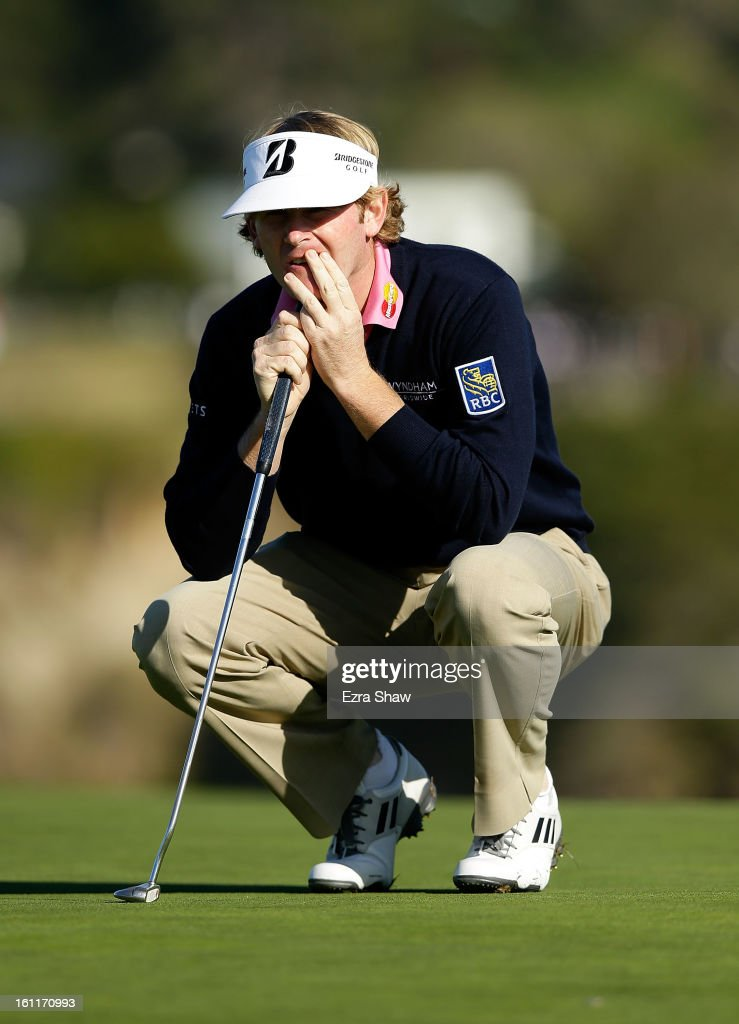 Brandt Snedeker waits on the sixth green during the third round of the AT&T Pebble Beach National Pro-Am at Pebble Beach Golf Links on February 9, 2013 in Pebble Beach, California.