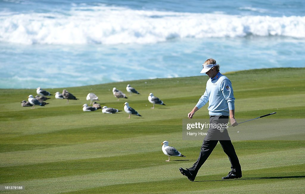 Brandt Snedeker walks down the tenth fairway during the final round of the AT&T Pebble Beach National Pro-Am at Pebble Beach Golf Links on February 10, 2013 in Pebble Beach, California.