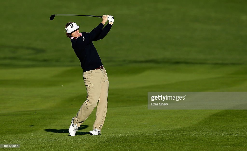 Brandt Snedeker watches his second shot on the second hole during the third round of the AT&T Pebble Beach National Pro-Am at Pebble Beach Golf Links on February 9, 2013 in Pebble Beach, California.