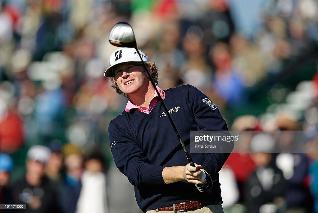 Brandt Snedeker watches his tee shot on the ninth hole during the third round of the AT&T Pebble Beach National Pro-Am at Pebble Beach Golf Links on February 9, 2013 in Pebble Beach, California.