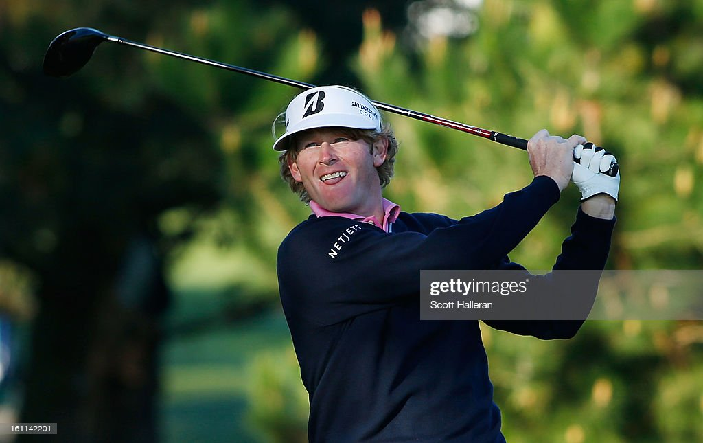 Brandt Snedeker watches his tee shot on the second hole during the third round of the AT&T Pebble Beach National Pro-Am at Pebble Beach Golf Links on February 9, 2013 in Pebble Beach, California.