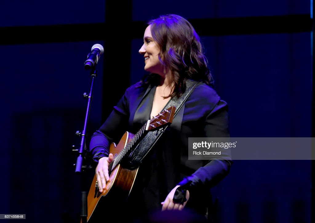 "Brandy Clark performs ""Coal Miner's Daughter"" onstage during the exhibition opening of Loretta Lynn: Blue Kentucky Girl at Country Music Hall of Fame and Museum on August 22, 2017 in Nashville, Tennessee."