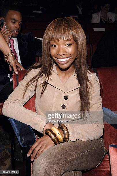 Brandy during Olympus Fashion Week Spring 2006 Baby Phat Front Row and Backstage at Radio City Music Hall in New York City New York United States
