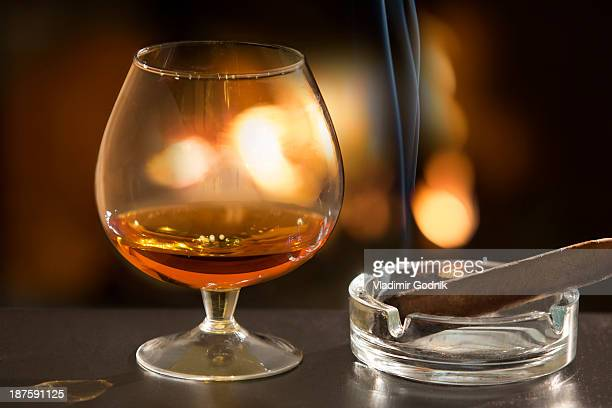 Brandy glass and cigar