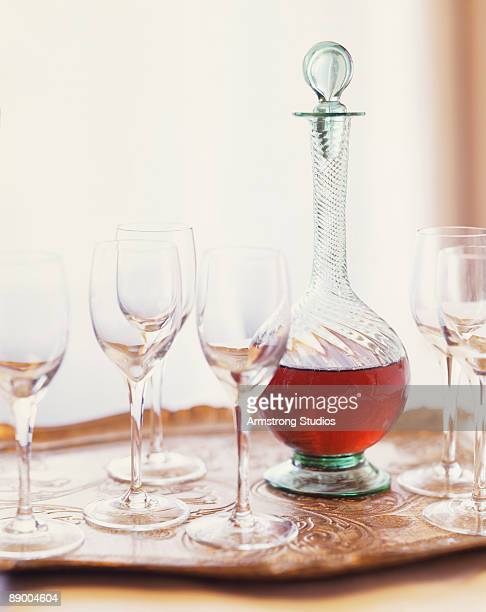 Brandy in carafe with glasses
