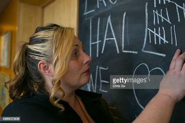 TORONTO ON NOVEMBER 25 2015 Brandy Laurier is counting the 27th day she has stayed at Ronald McDonald House on a chalk board outside her room Brandy...