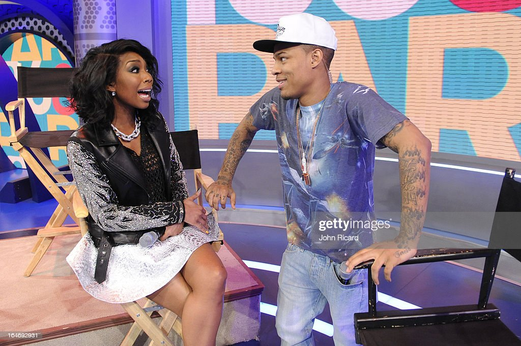 Brandy Norwood and <a gi-track='captionPersonalityLinkClicked' href=/galleries/search?phrase=Bow+Wow&family=editorial&specificpeople=211211 ng-click='$event.stopPropagation()'>Bow Wow</a> visit BET's 106 & Park at BET Studios on March 26, 2013 in New York City.