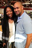Brandy Norwood and Demetrius Spencer attends the Ball Up 'Search For the Next' Tour Celebrity Game at Megafest on August 31 2013 in Dallas United...