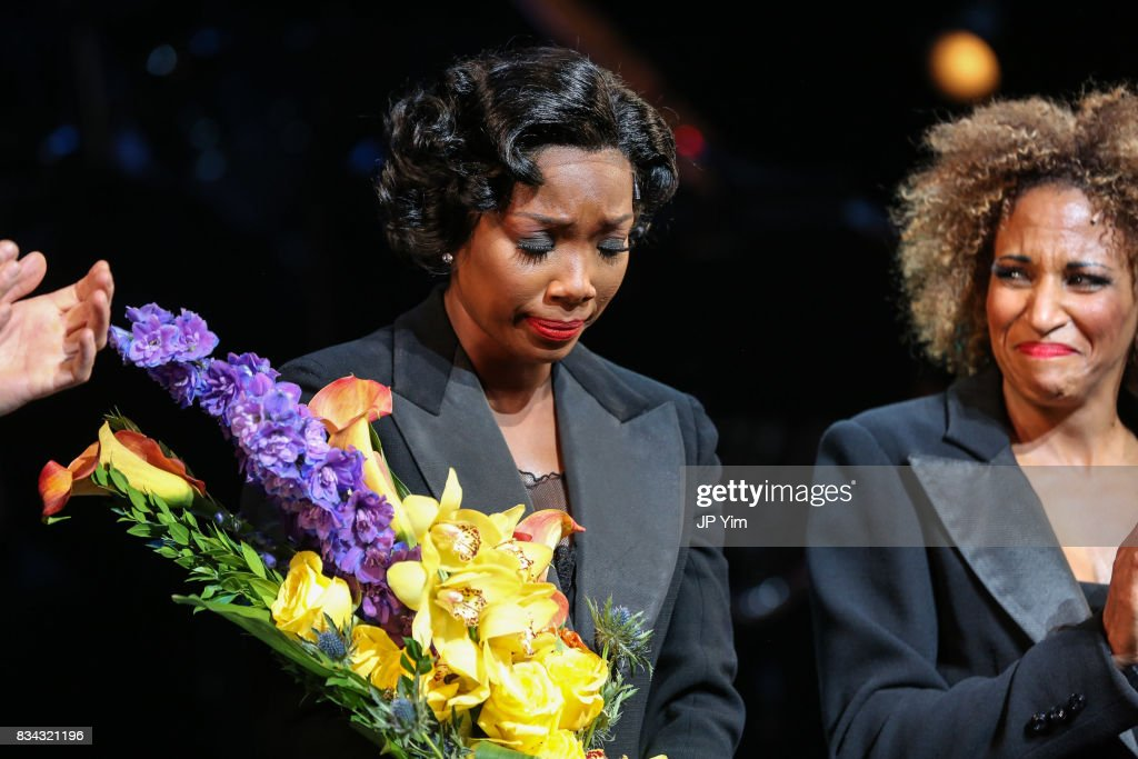 Brandy Norwood and Lana Gordon onstage for the curtain call of 'Chicago' on Broadway at the Ambassador Theatre on August 17, 2017 in New York City.