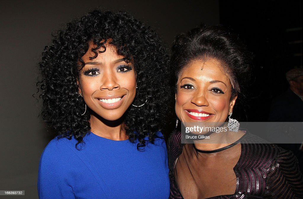 Brandy Norwood and Marva Hicks as 'Gladys Knight' pose backstage at the Tony Nominated hit musical 'Motown:The Musical' on Broadway at The Lunt-Fontanne Theater on May 8, 2013 in New York City.