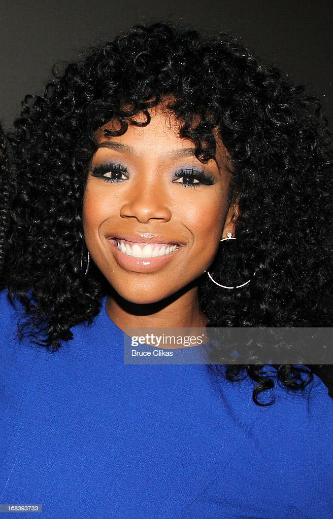 <a gi-track='captionPersonalityLinkClicked' href=/galleries/search?phrase=Brandy+Norwood&family=editorial&specificpeople=202122 ng-click='$event.stopPropagation()'>Brandy Norwood</a> poses backstage at the Tony Nominated hit musical 'Motown:The Musical' on Broadway at The Lunt-Fontanne Theater on May 8, 2013 in New York City.