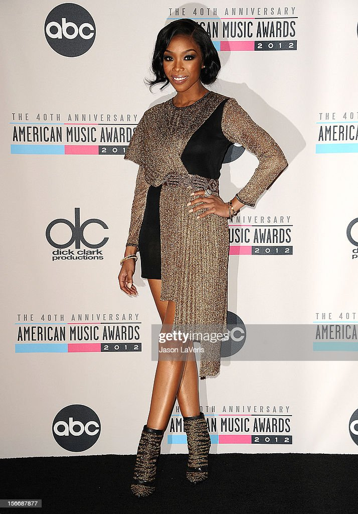 Brandy Norwood poses in the press room at the 40th American Music Awards at Nokia Theatre L.A. Live on November 18, 2012 in Los Angeles, California.