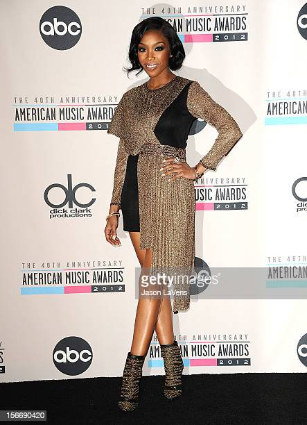 Brandy Norwood poses in the press room at the 40th American Music Awards at Nokia Theatre LA Live on November 18 2012 in Los Angeles California