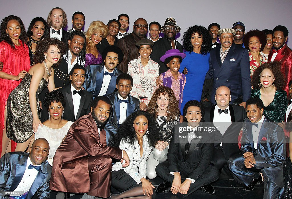 <a gi-track='captionPersonalityLinkClicked' href=/galleries/search?phrase=Brandy+Norwood&family=editorial&specificpeople=202122 ng-click='$event.stopPropagation()'>Brandy Norwood</a> poses with the cast backstage at the Tony Nominated hit musical 'Motown:The Musical' on Broadway at The Lunt-Fontanne Theater on May 8, 2013 in New York City.