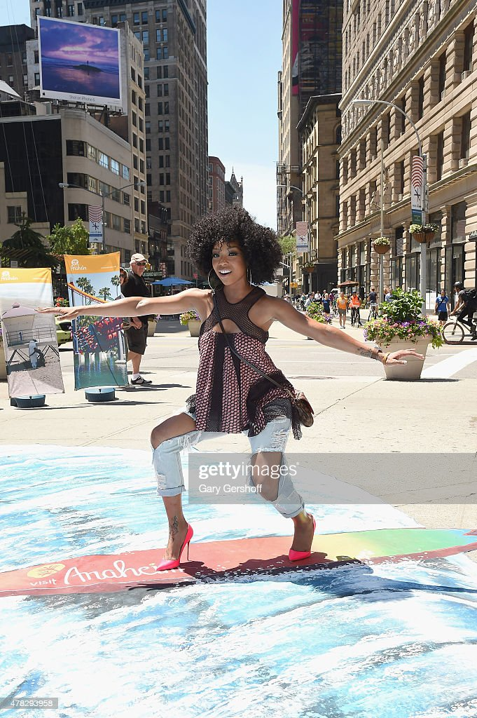 Brandy Norwood rides a 3D wave to celebrate the Anaheim/Orange County Visitor Conventions Bureau New Brand Debut at Flatiron Pedestrian Plaza on June...