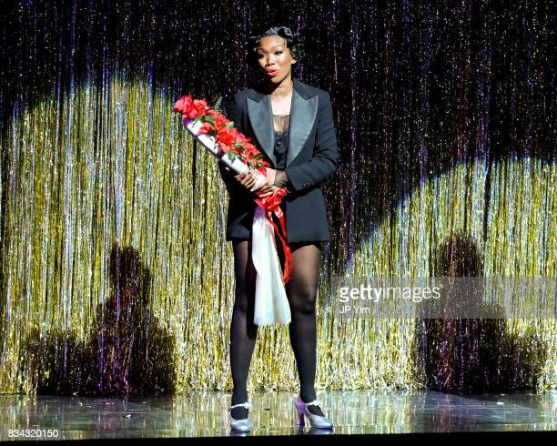 Brandy Norwood takes a bow after returning to play the role of Roxie Hart in Broadway's 'Chicago' at the Ambassador Theatre on August 17 2017 in New...