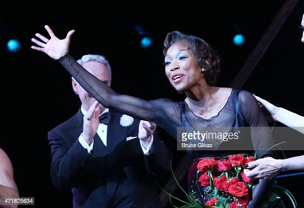 Brandy Norwood takes her curtain call as 'Roxie Hart' in 'Chicago' on Broadway at The Ambassador Theater on April 30 2015 in New York City