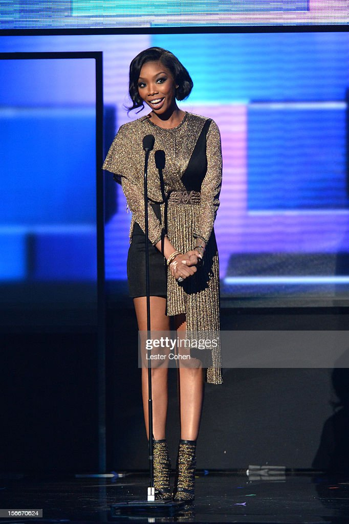 Brandy onstage during the 40th Anniversary American Music Awards held at Nokia Theatre L.A. Live on November 18, 2012 in Los Angeles, California.